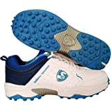 SG Latest Superior Cricket Shoes with Rubber Spikes for Men - 7 UK (White/Aqua)