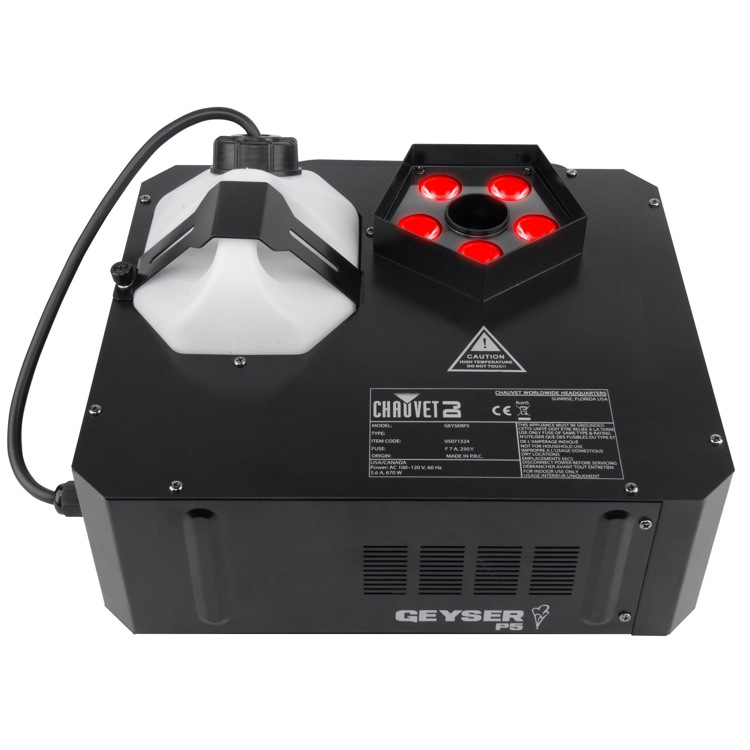 Chauvet DJ Geyser P5 RGBA+UV LED Pyrotechnic-Like Effect Fog Machine with 1 Year EverythingMusic Extended Warranty Free