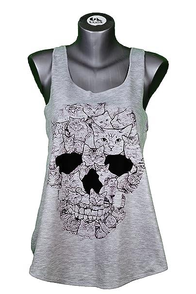 Camiseta SIN Mangas - Calavera - Gatos - Cabeza DE Muerte - Tatuaje - Cats Kitties Skull Head Woman Tank-Top: Amazon.es: Ropa y accesorios