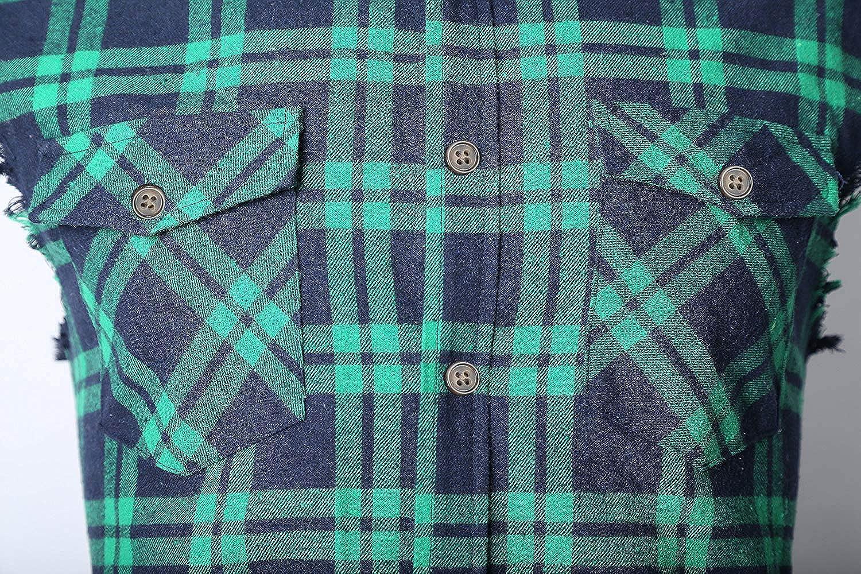 NUTEXROL Mens Casual Flannel Plaid Shirt Sleeveless Cotton Plus Size Vest