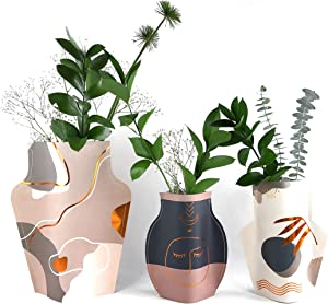 [3 Pack] EYETRAVEL Vases Set   Modern Home Decor or Gift   Colapsible and Reusable Planter   Metalized Details   Flowers give Life to Your Favorite Spots   Blue Accents!