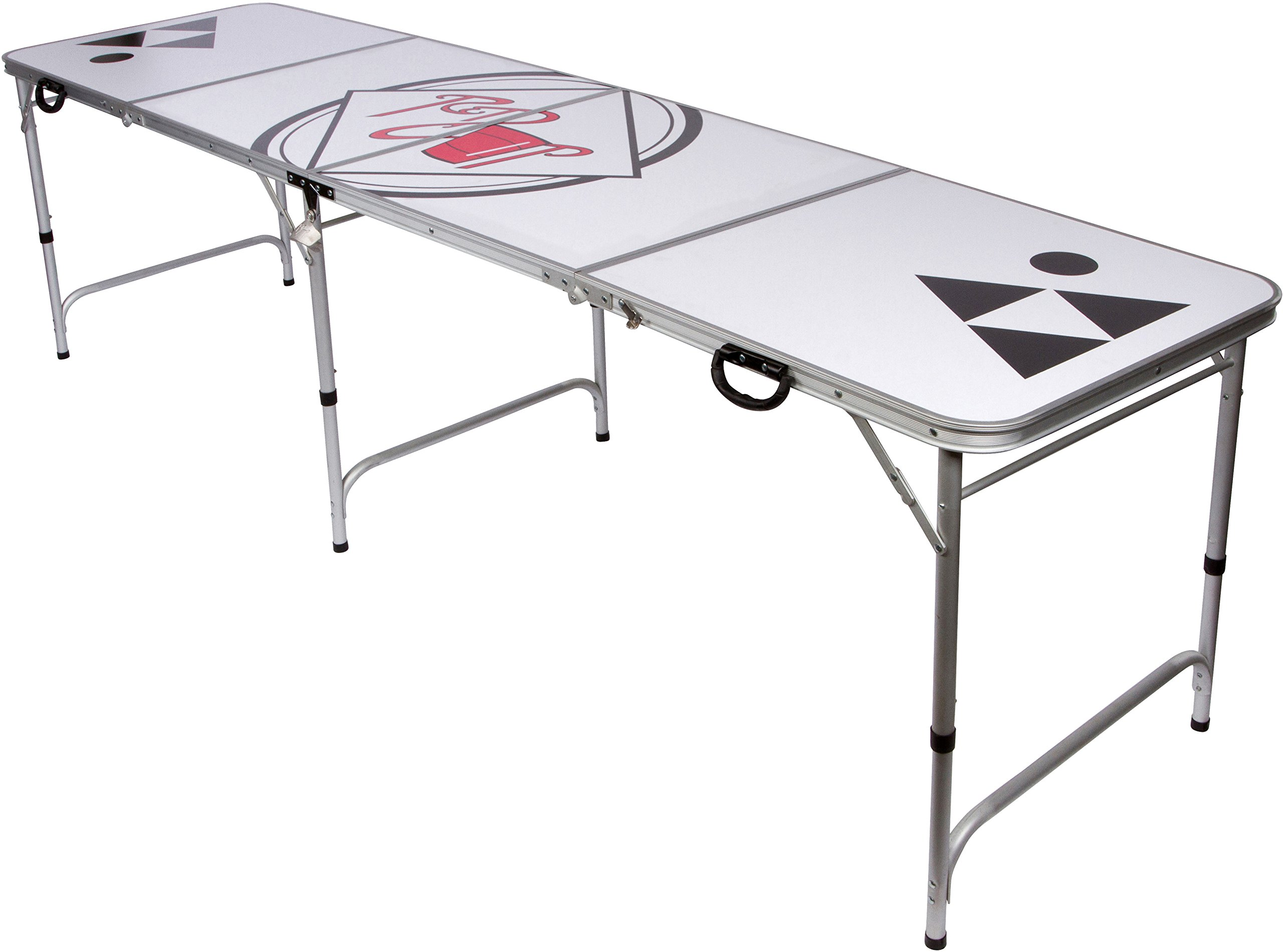 Red Cup Pong 8' Folding Beer Pong Table with Bottle Opener, Ball Rack and 6 Pong Balls - Classic Design