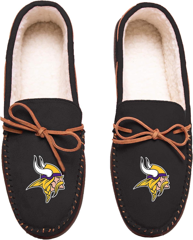 Pick Team FOCO Football Mens Team Color Big Logo Moccasin Slippers Shoe