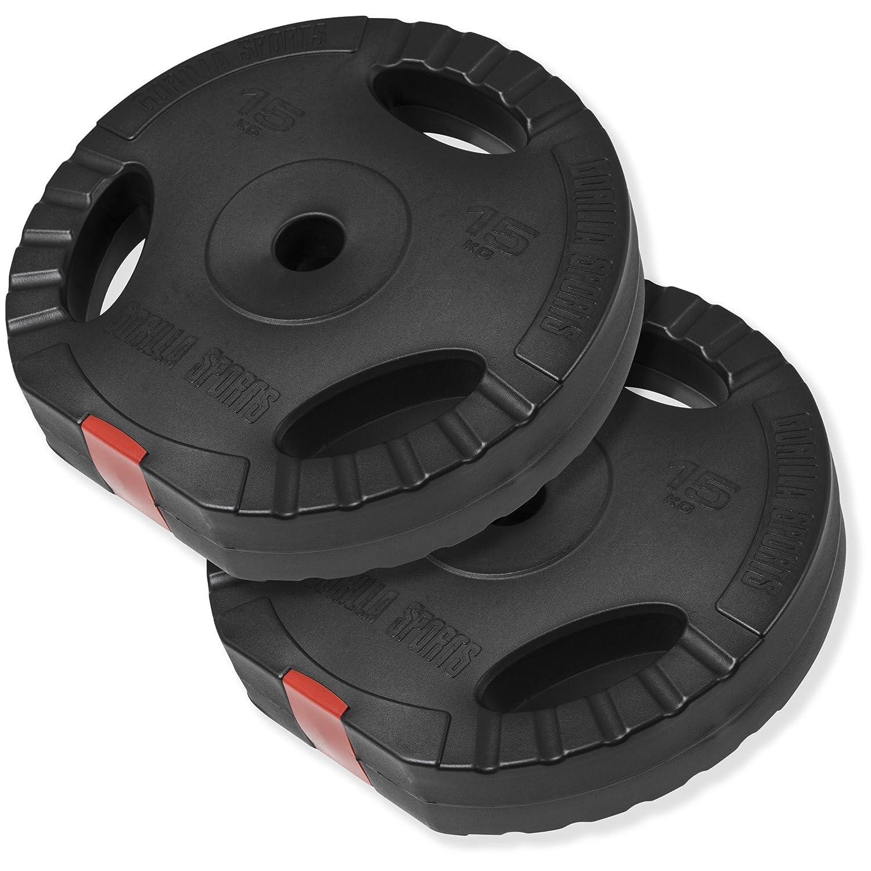 Gorilla Sports Vinyl Tri Grip Weight Plate Set 2x 15KG