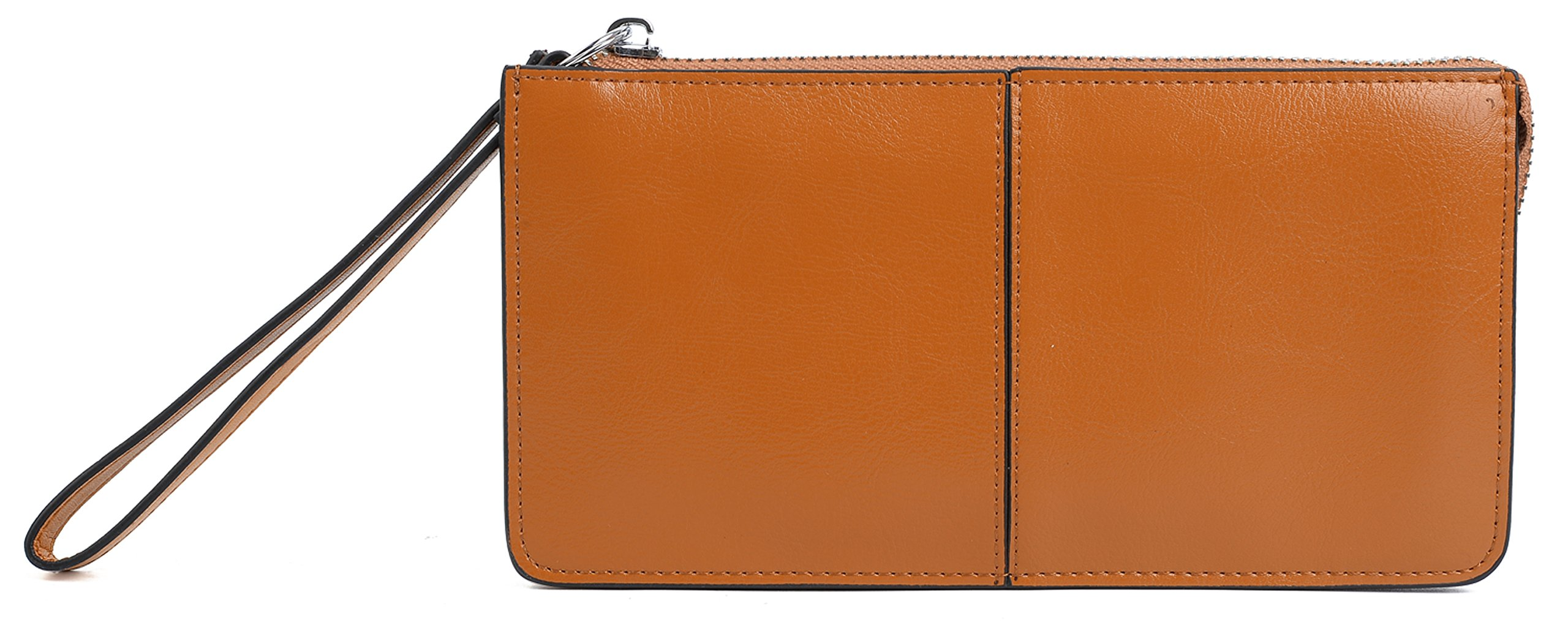 YALUXE Women's Leather Zipper Clutch Wristlet Wallet for iPhone 7 Plus/Galaxy S5 Orange Brown
