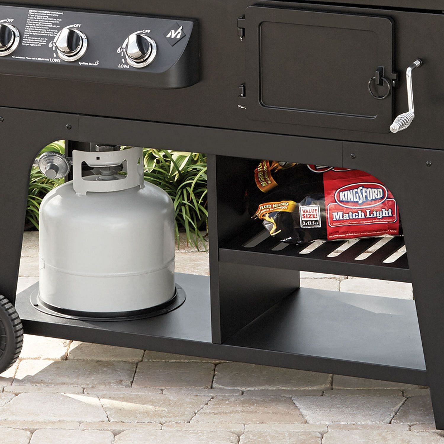 Gas & Charcoal Hybrid Grill BBQ Cooking Cast Iron Stainless Steel Party Heavy Duty by MM (Image #8)