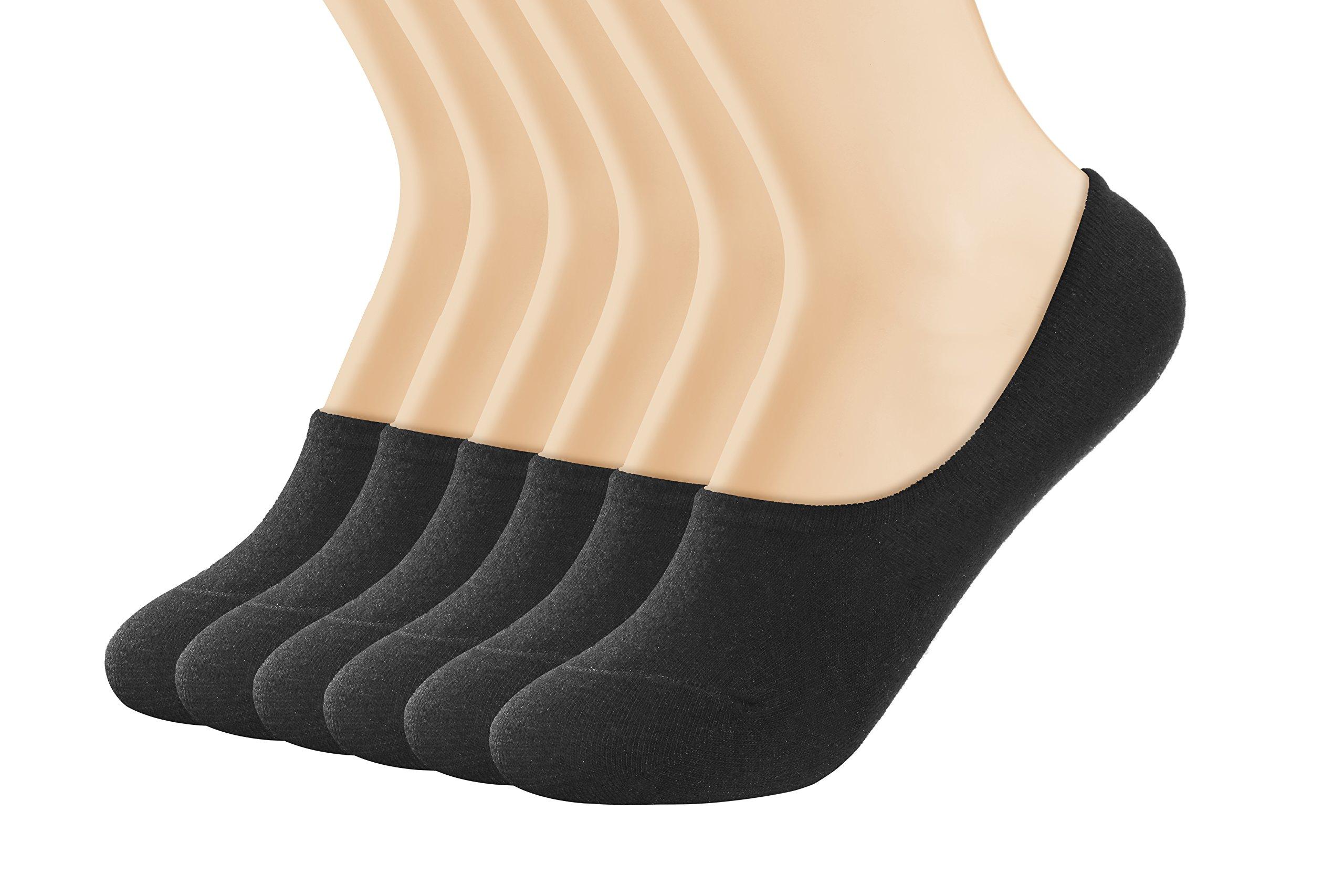 Women's Socks 6 Pack Thin Casual No Show Socks Non Slip Flat Boat Line (medium, black)