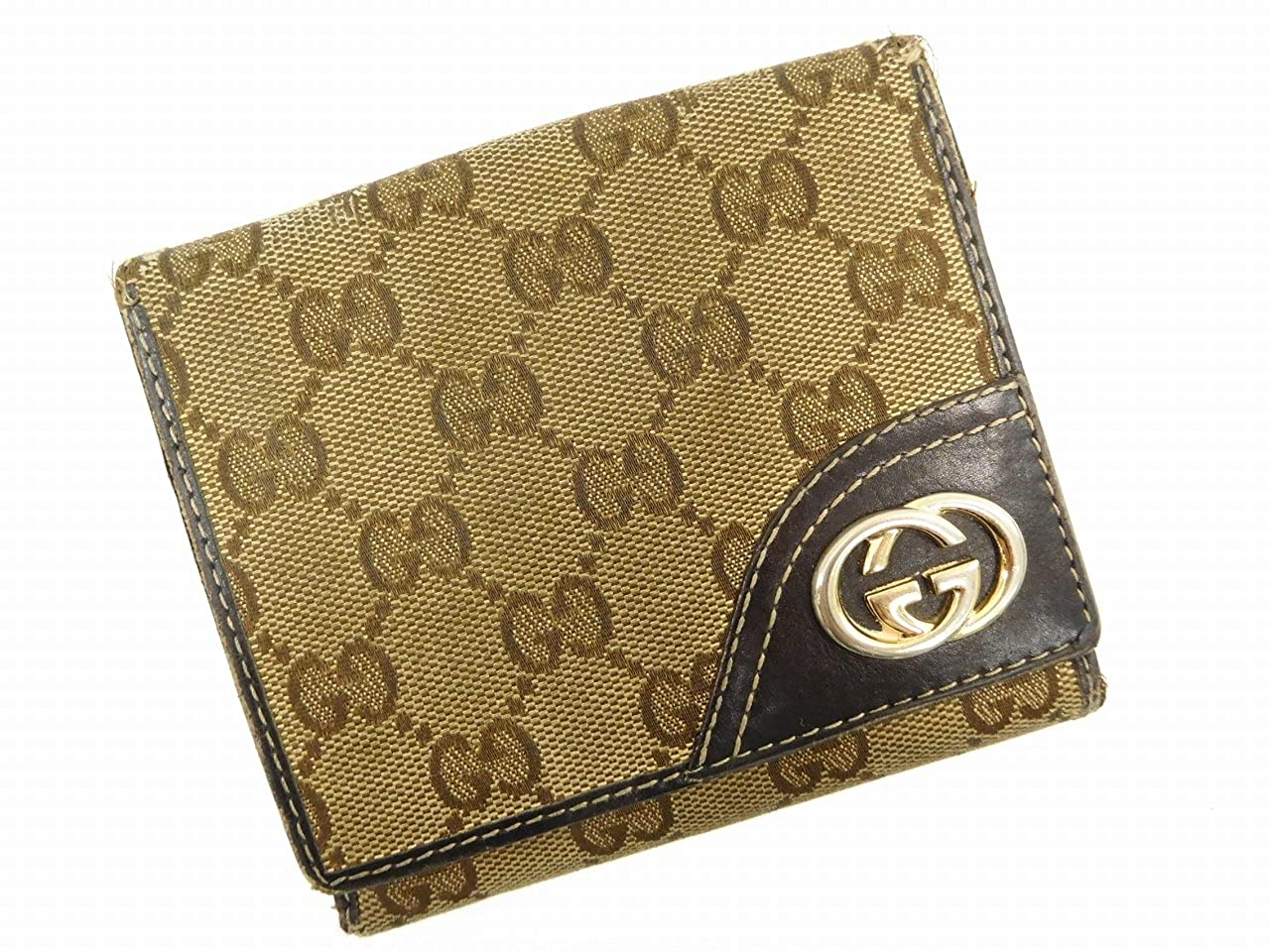 [グッチ] GUCCI 二つ折り財布 GGキャンバス キャンバス×レザー X14847 中古   B071R5TBXJ