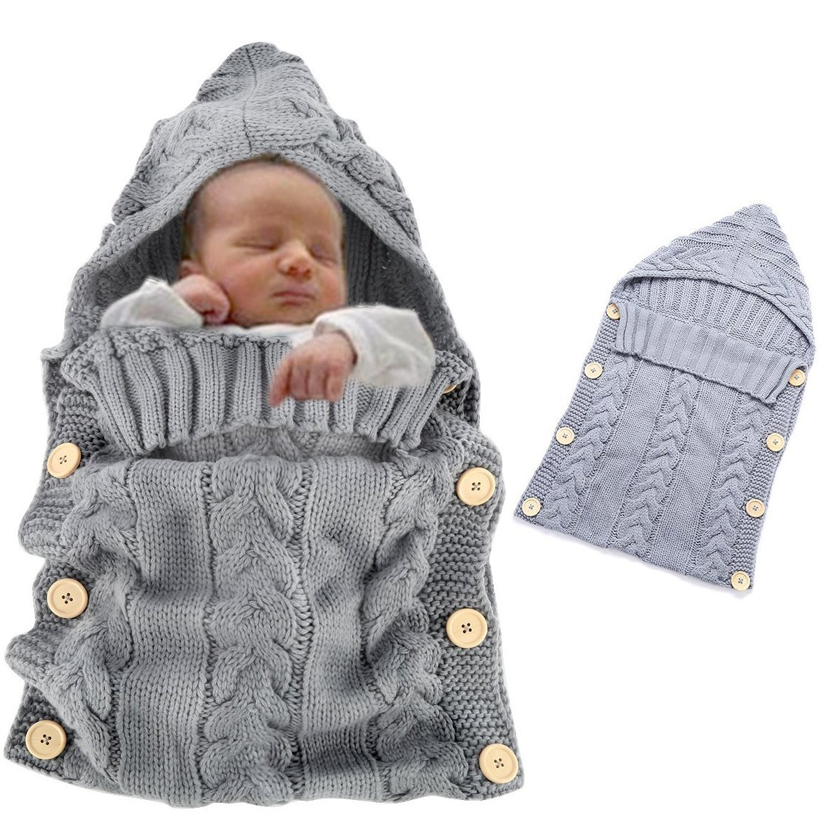 Baby Swaddle, Vandot Unisex Envelope Newborn Babies Toddle Infant Sleeping Bags Light Weight Soft Warm Crochet Knitted Blanket Swaddling Sleep Sack Stroller Wrap Moses Basket Pushchairs Bunting Bags for Stroller Prams Buggies Bike Trailer Car Seats Photo P