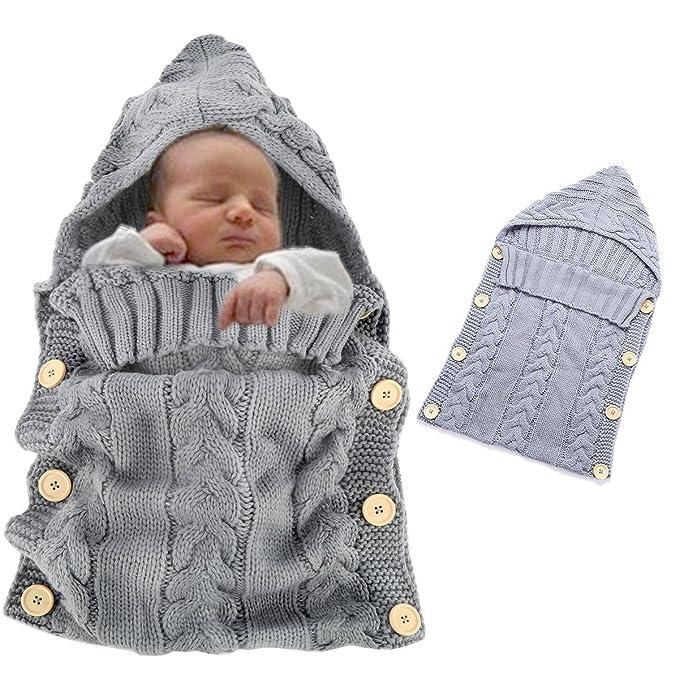 Vandot Bady Kleinkinder Unisex Neugeborene Gestrickte Kapuze Swaddle