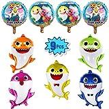 """9 Pcs Baby Shark Party Helium Balloons - 26"""" Shark Family Balloons with 4 Pcs 17"""" Round Balloons for Shark Theme Party…"""