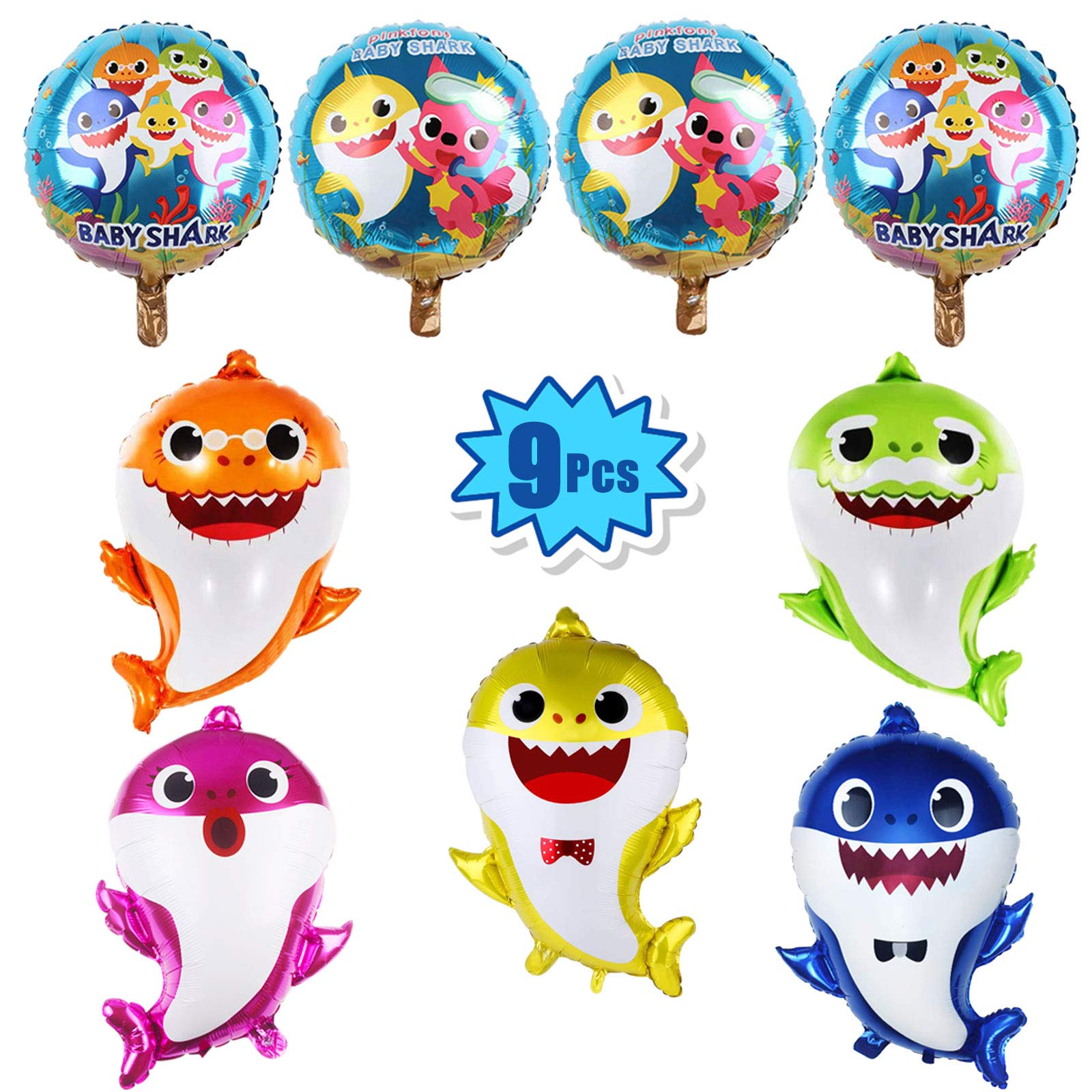"""9 Pcs Baby Shark Party Helium Balloons - 26"""" Shark Family Foil Balloons with 4 Pcs 17"""" Round Balloons for Shark Theme Party Supplies/ Baby Shower Party Decorations"""