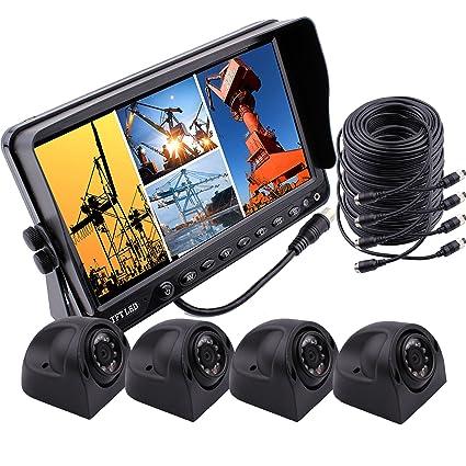 Zhiren - Sistema de cámara de seguridad para coche, pantalla LCD de 7 pulgadas,