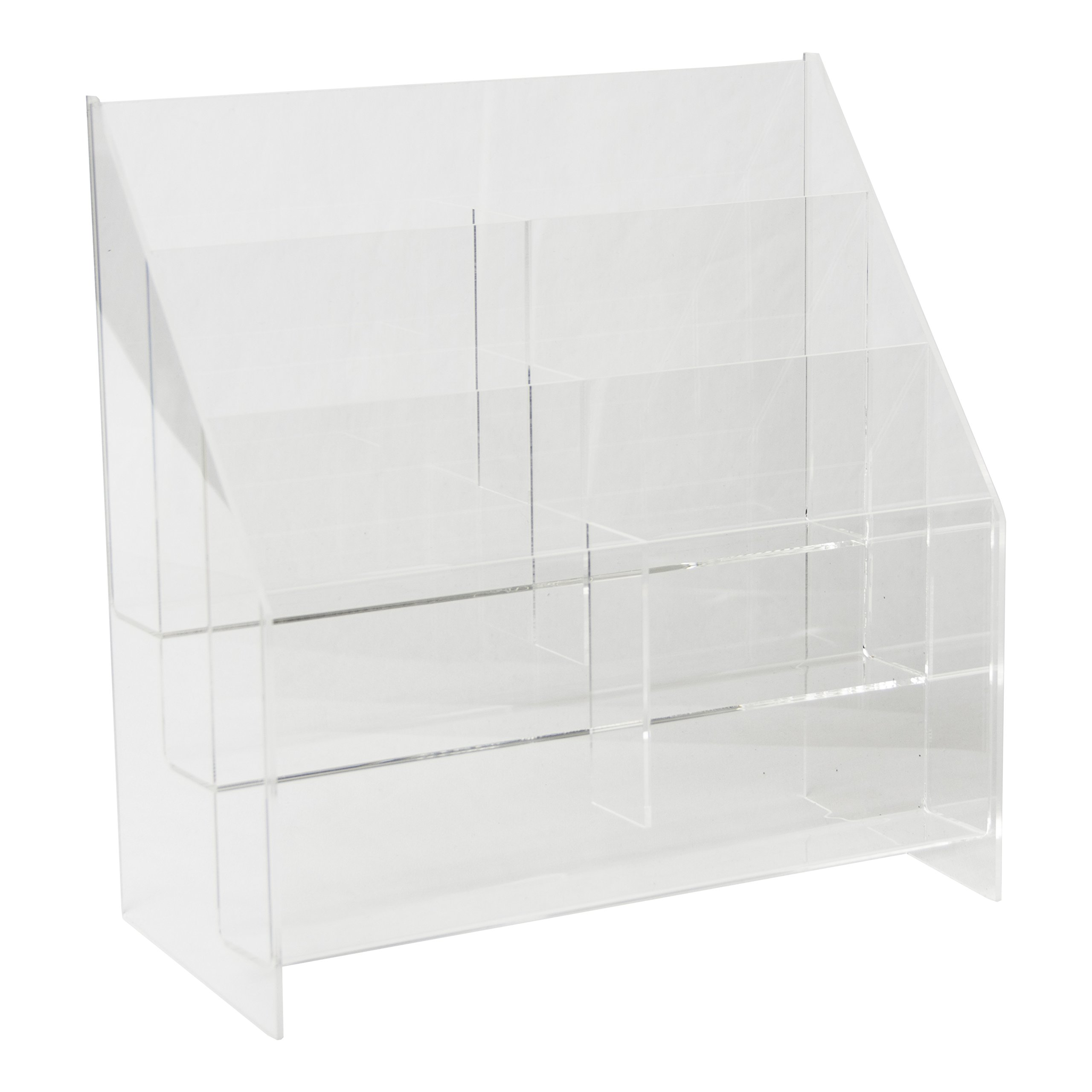 Clear-Ad - MPF-5585-6 - Premium Acrylic 3 Tier 6 Pocket Brochure Holder 5.5x8.5 - Transparent Plastic Pamphlet Display Stand (Pack of 4)