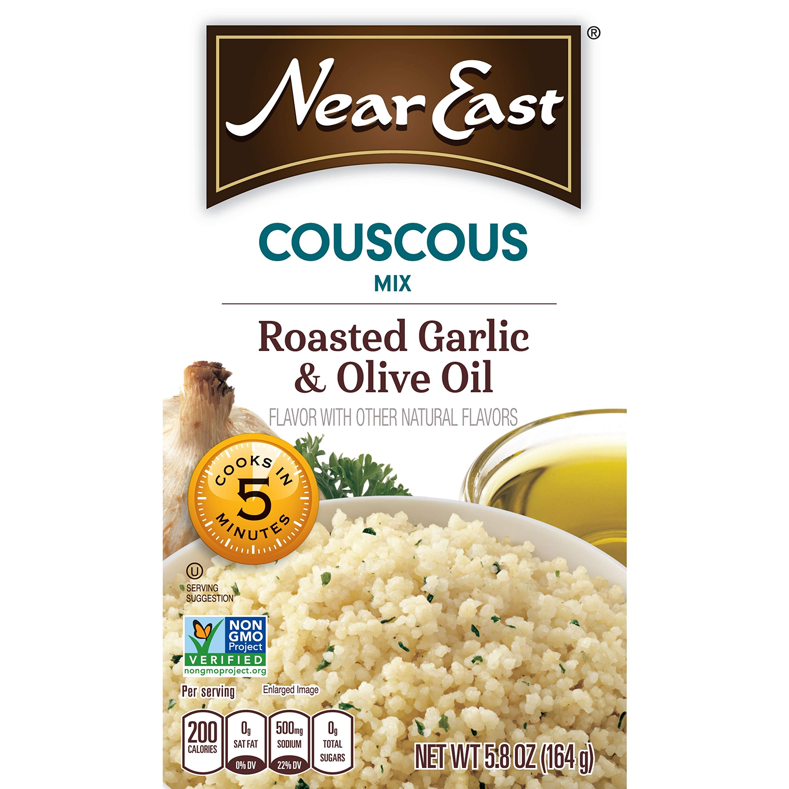 Near East Couscous Mix, Roasted Garlic & Olive Oil,5.8 ounce (Pack of 12 Boxes)