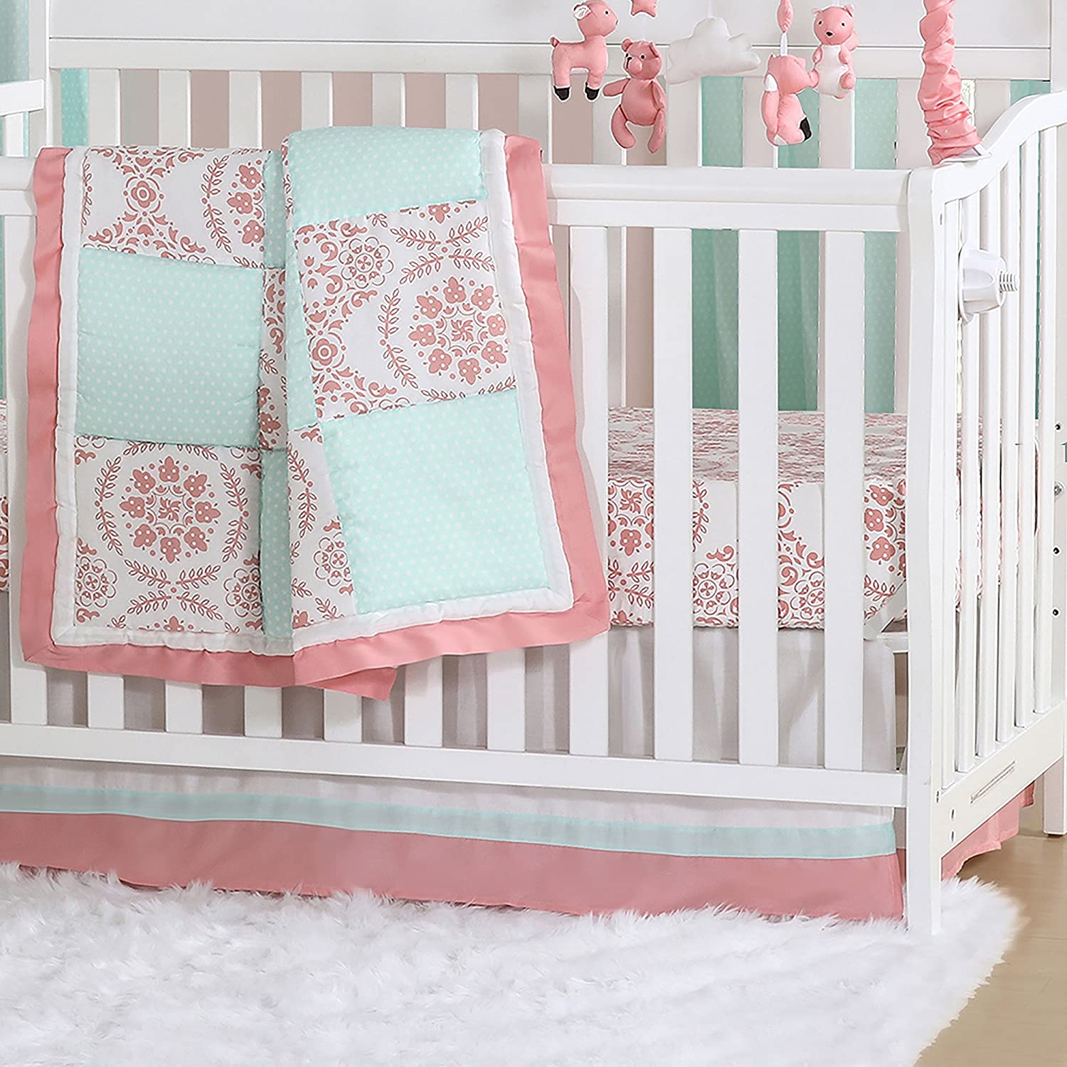 Mint Green and Coral Patchwork 3 Piece Baby Crib Bedding Set by The Peanut Shell by The Peanut Shell   B01KOO9TVC