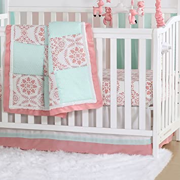 Amazoncom Mint Green And Coral Patchwork 3 Piece Baby Crib
