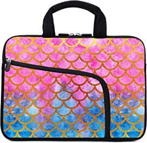 11.6 12 12.1 Inch Laptop Sleeve Carrying Bag Protective Case Neoprene Sleeve Tote Tablet Cover Notebook Briefcase Bag with Handle Extra Pockets for Women Men(Mermaid,12