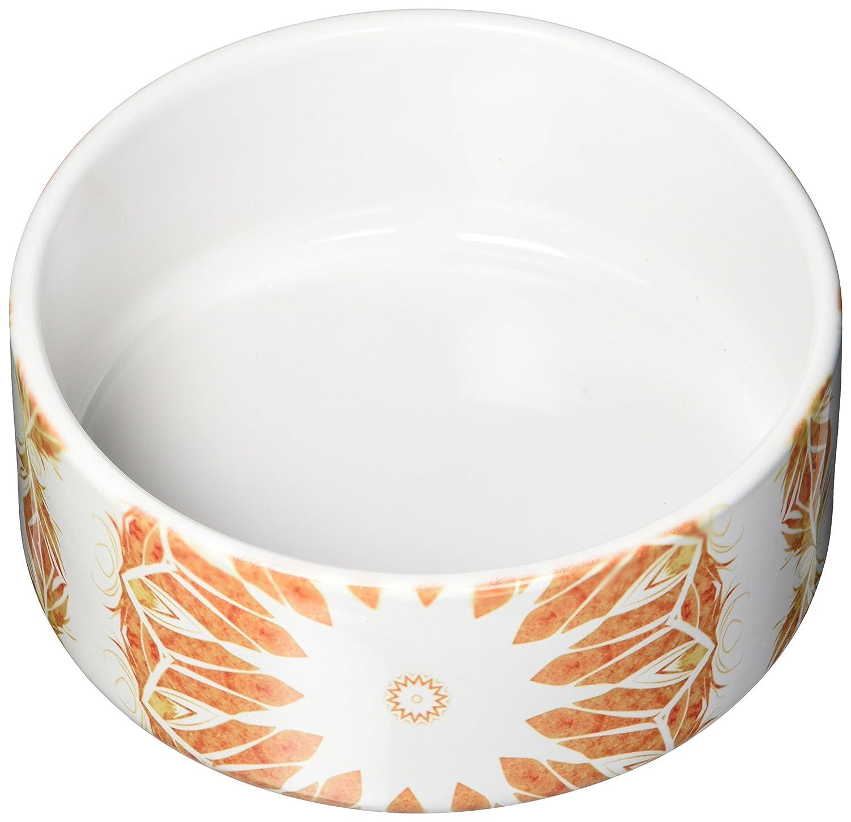 KESS InHouse Alison Coxon Citrine Mandala Tile orange Yellow Digital Pet Bowl, 7  Diameter