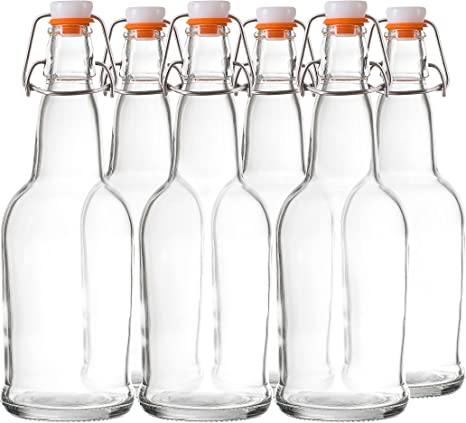 Tebery 6 Pack Clear Swing Top Glass Bottles with Handle 16oz Size Flip Top Brewing Bottles Leak Proof With Easy Caps
