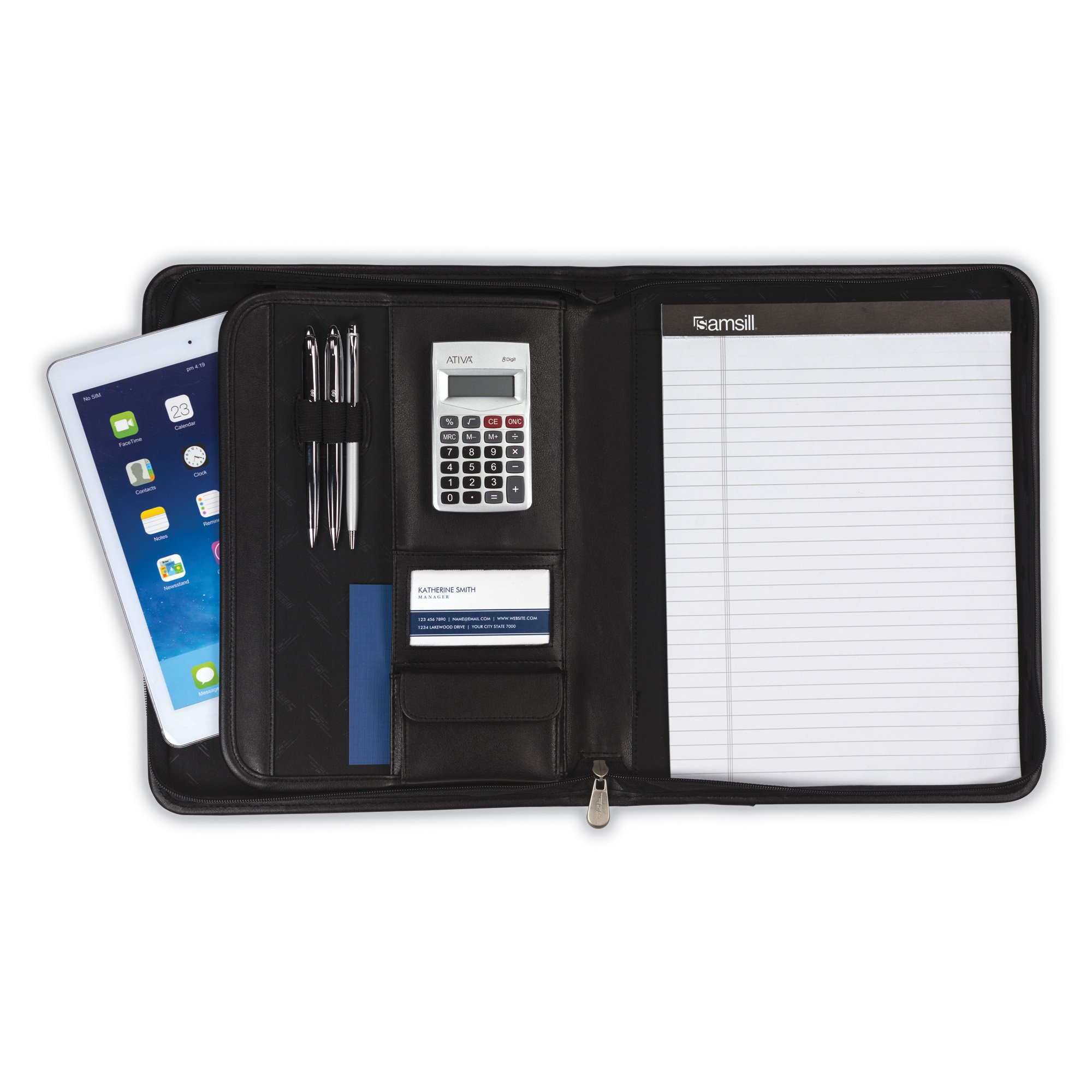 Samsill E-Keeper Portfolio with Zippered Closure, Dual iPad/Tablet Pockets, 8.5 inch x 11 inch Writing Pad, Charcoal/Black
