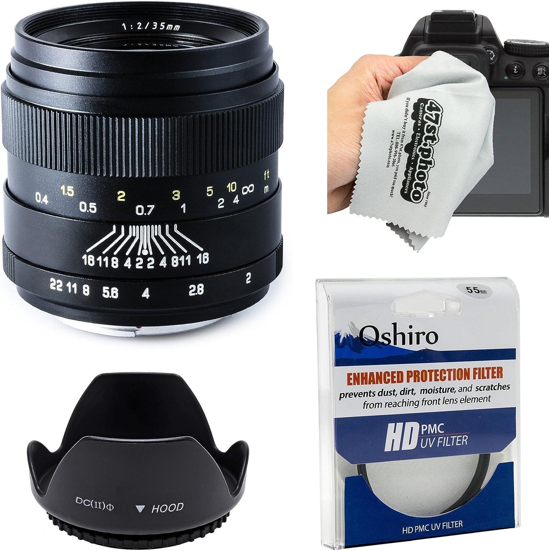 D3X Oshiro 35mm f//2 Wide Angle Full Frame Prime Lens with Hood Microfiber for Nikon D4S D7200 D3300 D5200 D750 D5300 UV D4 D610 D800 D600 D3200 Digital SLR Cameras D7100 DF D5500 D810