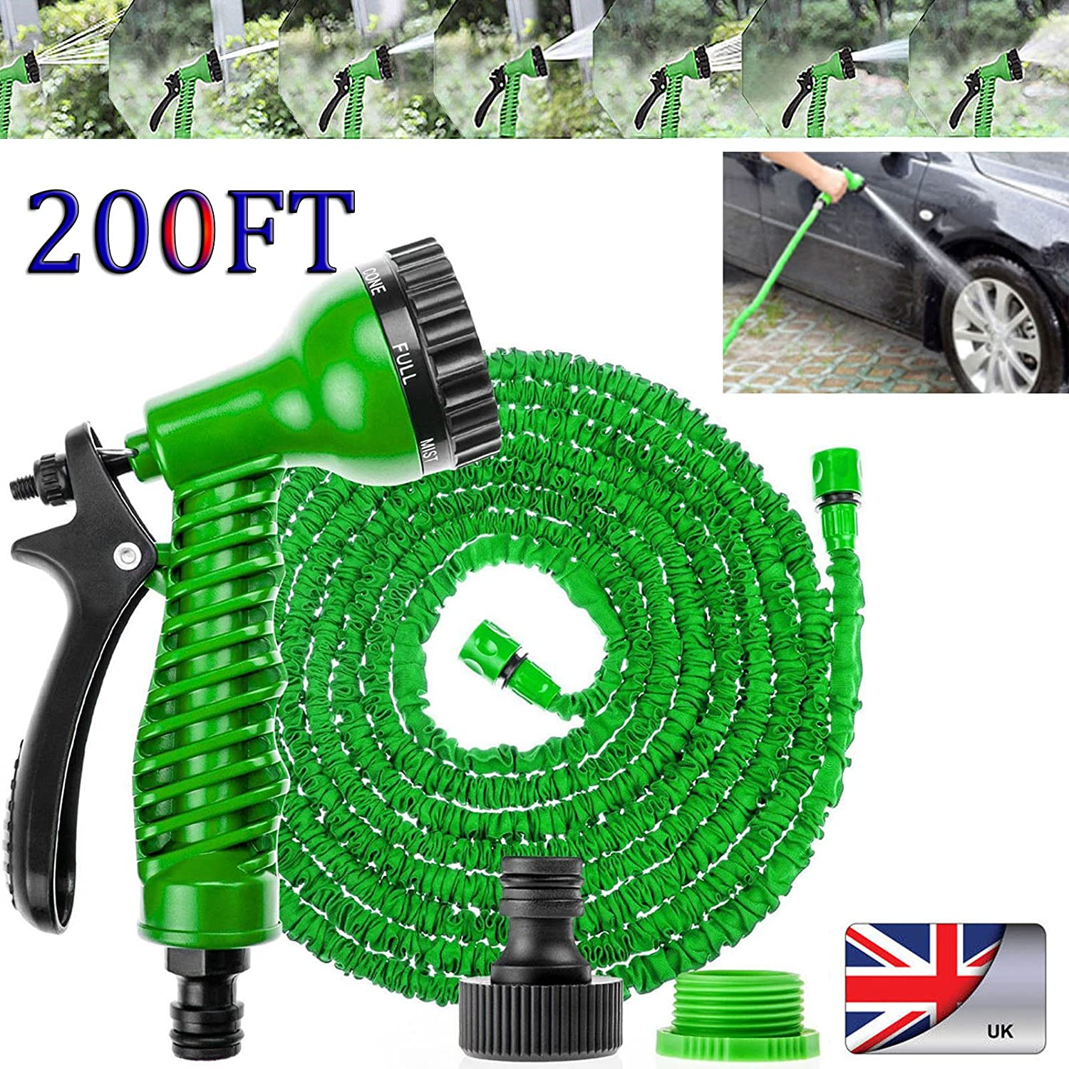Autofather 200FT Expandable Water Pipe Household Telescopic Hose with 7 Spraying Settings Portable Kit for Washing Car Garden Watering Easy to Carry Storage, 2 Year Warranty (Green)