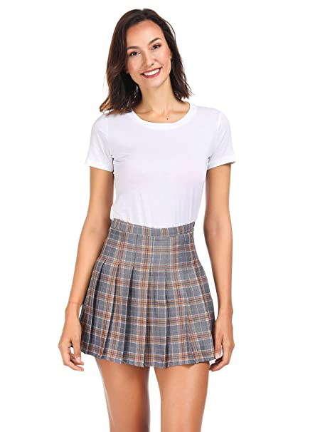 5d59d4ff1b Clarisbelle Women High-Waisted Pleated Mini Skirts with Soft Shorts  Underneath (S, Gray