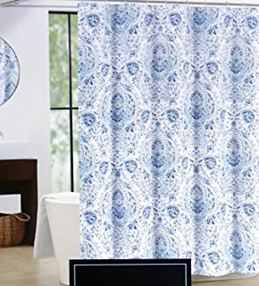 Cynthia Rowley Fabric Shower Curtain Blue Floral Medallion Pattern Quincy