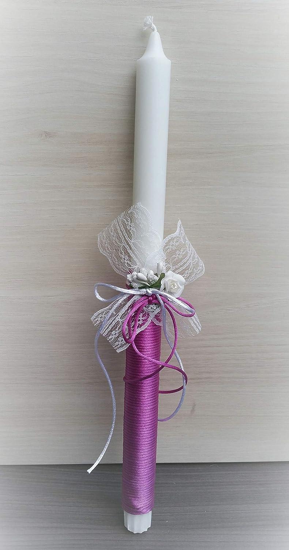 Vela bautizo con cinta morada flores vintage 35/2,2 cm.