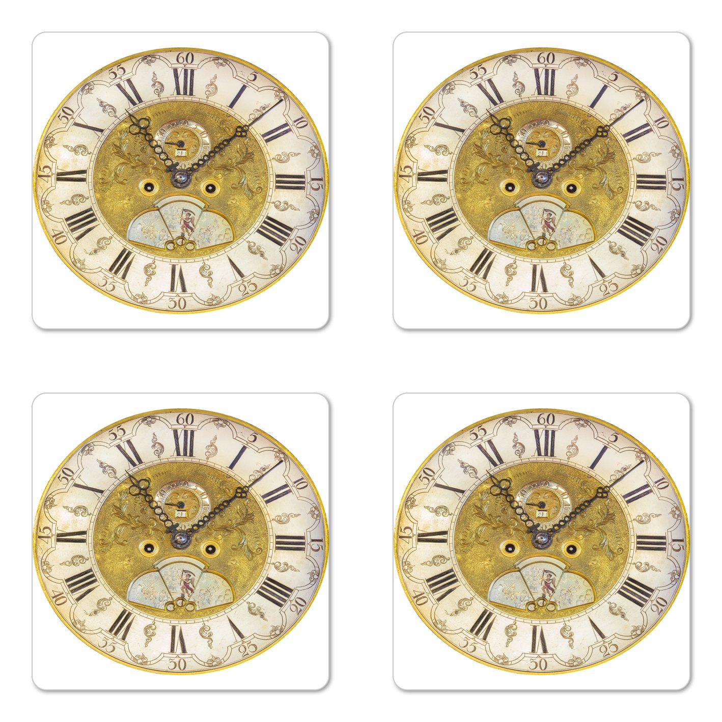 Ambesonne Clock Coaster Set of Four, Vintage Theme A Seventeenth Century Ornamental Clock Face with Roman Numbers, Square Hardboard Gloss Coasters for Drinks, Gold and Black