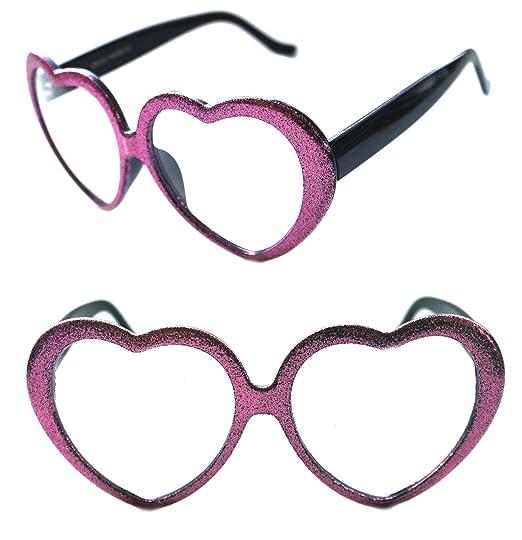 5d502838453 Amazon.com  Women s 50 s Thick Heart Shaped Lolita Glitter Black Frame  Designer Retro Fashion Clear Eye Glasses (Pink