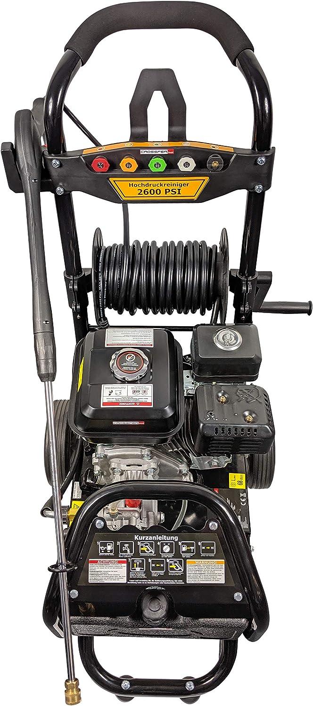 220bar Druck inkl 5 D/üsen und Ansaugschlauch mit Wasserfilter f/ür die mobile Verwendung 12 Meter Hochdruckschlauch Schlauchtrommel Benzinhochdruckreiniger 7PS mit max
