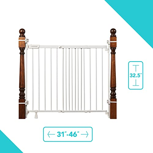 Summer Metal Banister and Stair Safety Baby Gate, White Finish 32.5 Tall, Fits Openings of 31 to 46 Wide, Extra-Wide Door Opens The Full Width of Your Stairway, Convenient Baby and Pet Gate