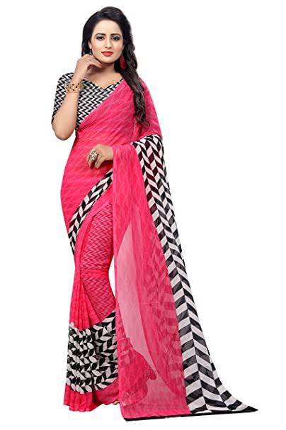 b6fa1a3a43 Rangreza Georgette Fancy Printed Saree With Blouse Piece for Women Pink:  Amazon.in: Clothing & Accessories