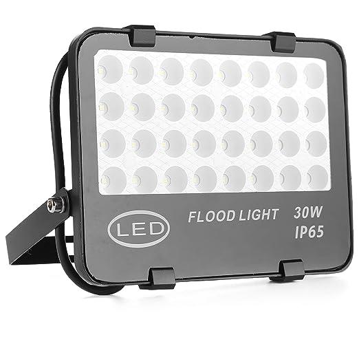 QinTian 30W Foco Proyector LED, Negro Luz de Inundación de LED Reflector industrial para interior y exterior IP65 impermeable, 3000LM, blanco frío ...