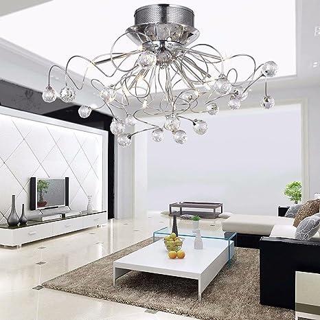 LOCO Lámpara de araña de cristal moderna con 11 luces Chrom, lámparas de montaje empotrado Lámpara de techo moderna para vestíbulo, entrada, ...