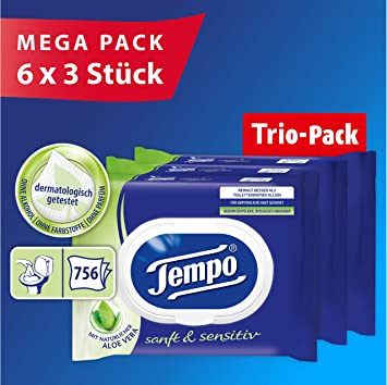 Tempo Papel higiénico húmedo Tempo húmedo papel higiénico suave ...