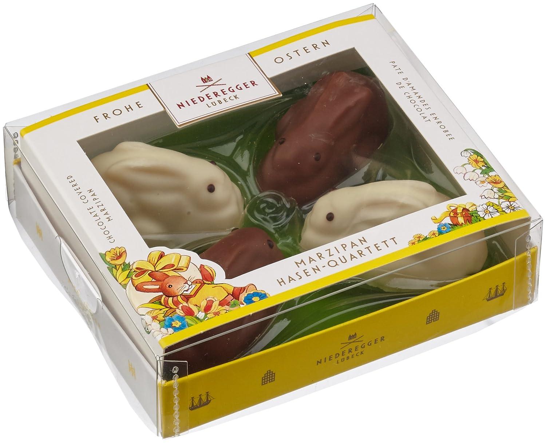 0c8a5a0d63 Niederegger Marzipan Hasen Quartett m. Schokolade, 1er Pack (1 x 100 g):  Amazon.de: Lebensmittel & Getränke