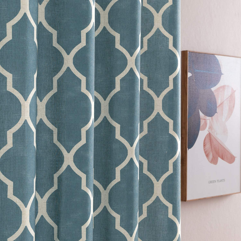 "jinchan Quatrefoil Linen Curtains Flax Linen Blend Curtain Textured Lattice Moroccan Tile Print Kitchen Window Treatment Set for Living Room Geometry 50"" x 45"" inch Blue 2 Panels"