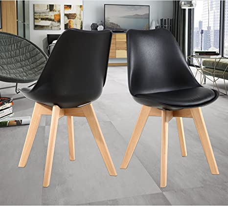 Amazon Com Nob Mid Century Modern Kitchen And Dining Room Chair Set Of 2 Black Furniture Decor