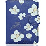 WALNEW Passport Holder Cover Case Travelling Passport Cards Carrier Wallet Case, Blue White Flowers