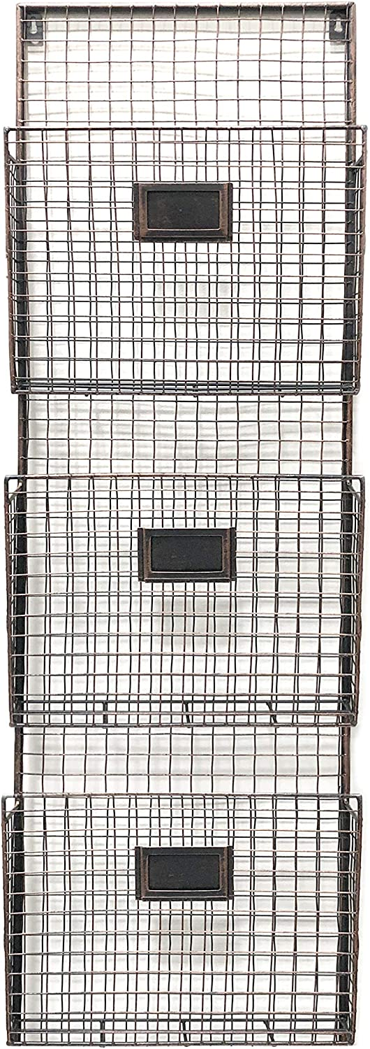 Designstyles Wall Hanging 3 Tier File Holder - Wall Mounted Metal Wire Magazine Rack - Office Folder Organizer with Name Tag Slot, Copper