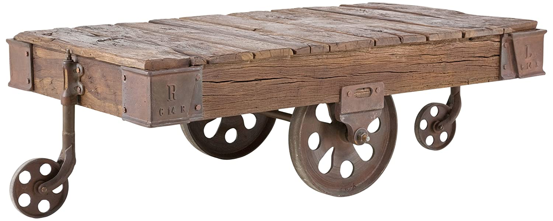 Kare Design Couchtisch 135x80cm aus Altholz rustikal mit Rädern Railway