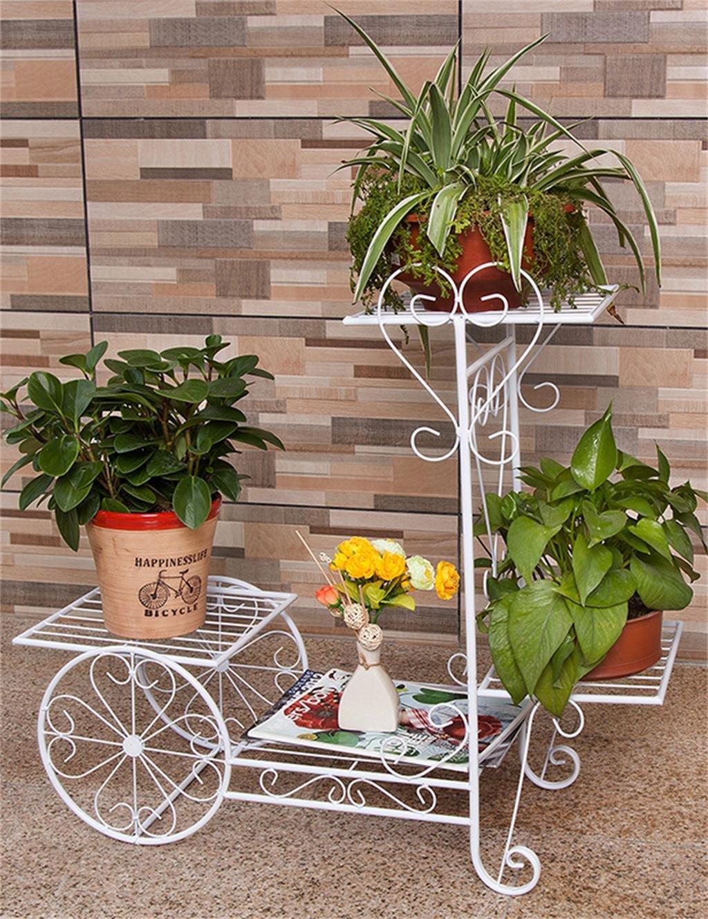 Continental Iron Fahrrad-Modelle Boden Flower Pot Regal, grün Dill hängende Orchidee Rack, Pflanzen stehen für Innen-, Wohnzimmer, Balkon ( farbe : Weiß , größe : L )