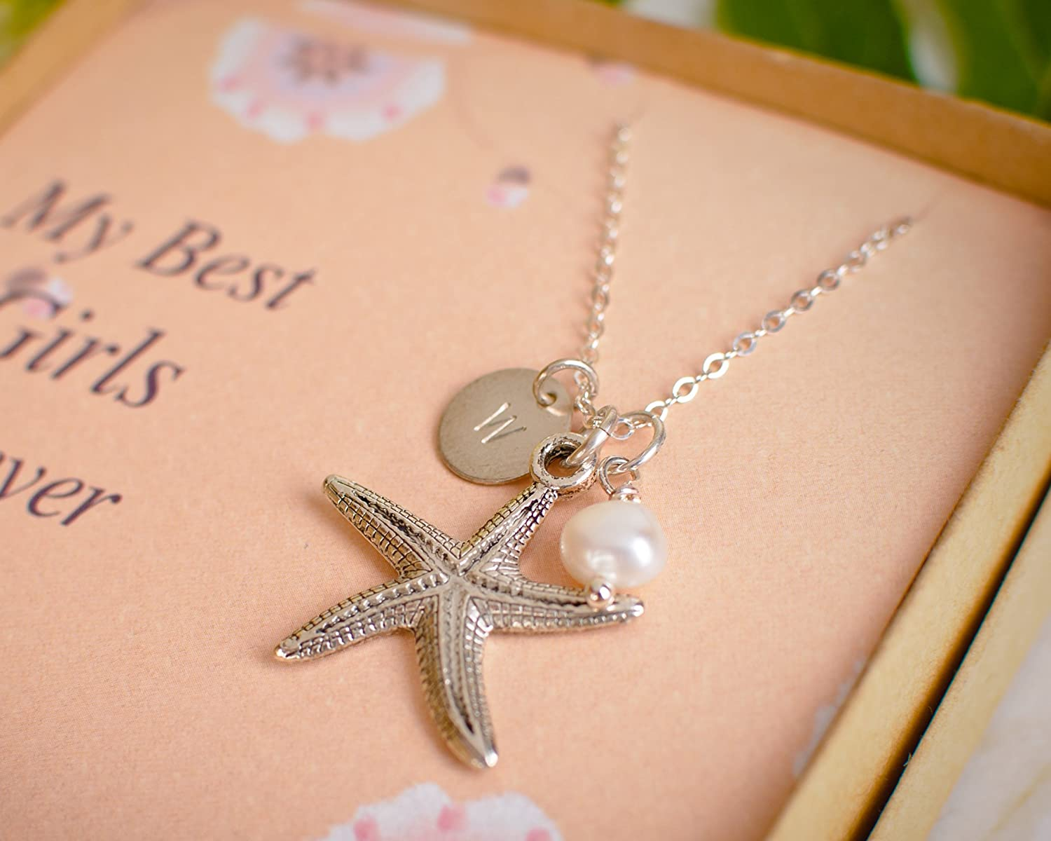 Amazon.com: Starfish, Initial and Cultured Pearl Personalized ...