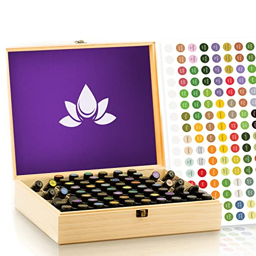 Essential Oil Storage Box - 68 Bottle Capacity - Wooden Case Holds (5-15ml) and 10ml roller bottles - Protects from UV Light - Sturdy Construction, Great for Presentations, Fits doTERRA, Young Living, Plant Therapy - For Organizing and Travel