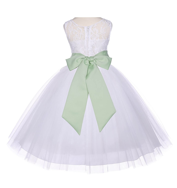 9f529d986 Amazon.com  ekidsbridal Ivory Floral Lace Bodice Tulle Flower Girl ...