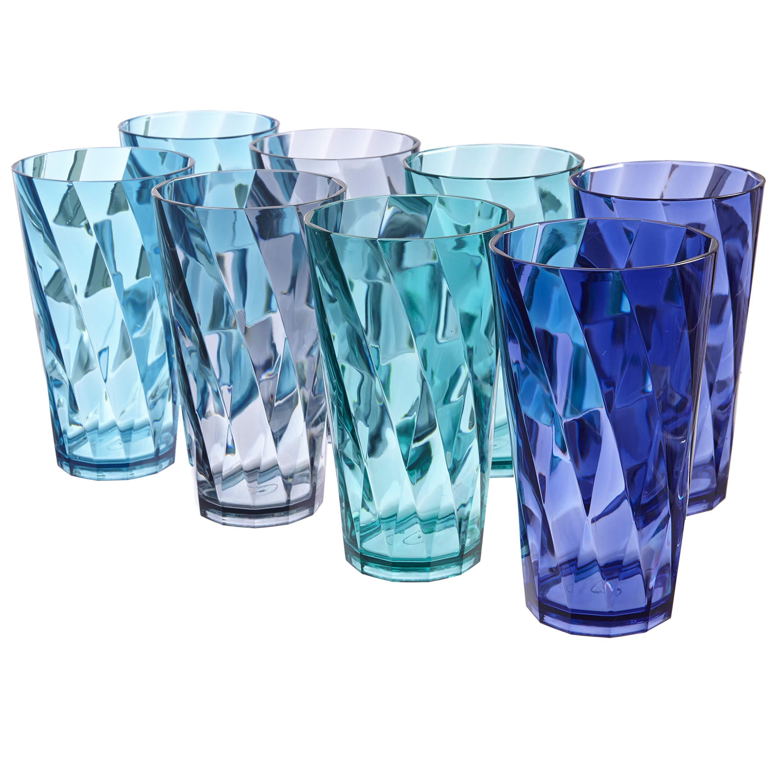 Optix 20-ounce Plastic Tumblers | set of 8 in 4 Coastal Colors by US Acrylic