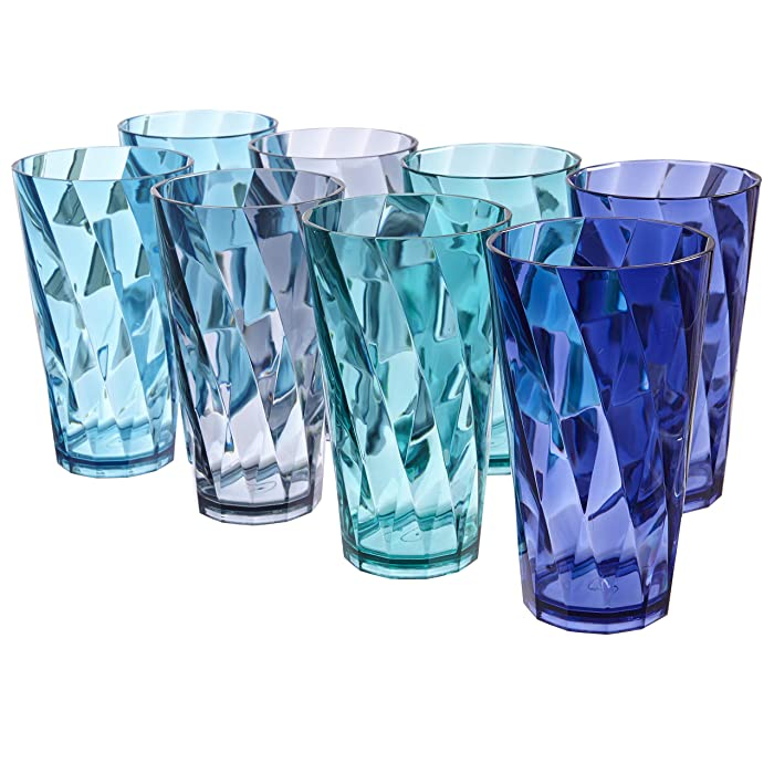 Optix 20-ounce Plastic Tumblers | set of 8 in 4 Coastal Colors